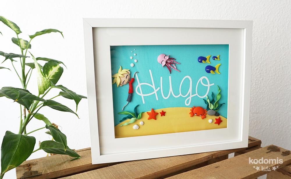 cuadros con nombres para niños Hugo 01