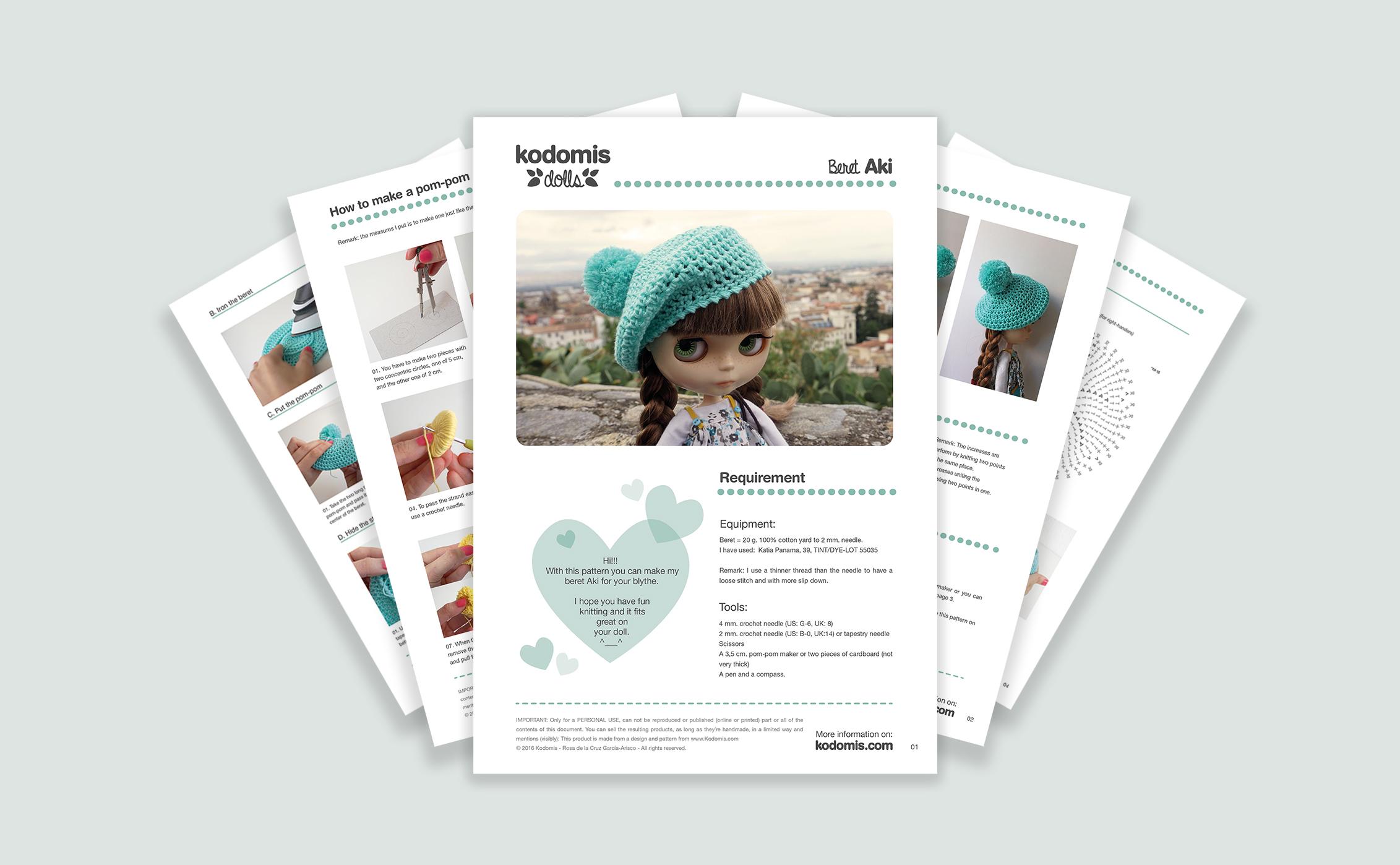 Patrones y tutoriales para Blythe, boina crochet, pdf