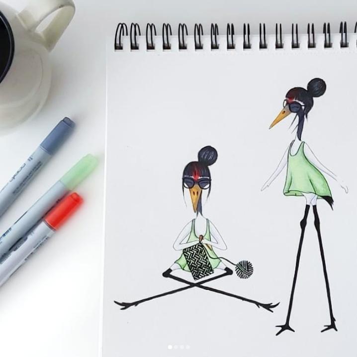 Ilustración grulla tejiendo